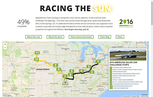 Solar Vehicle Interactive Web Feature